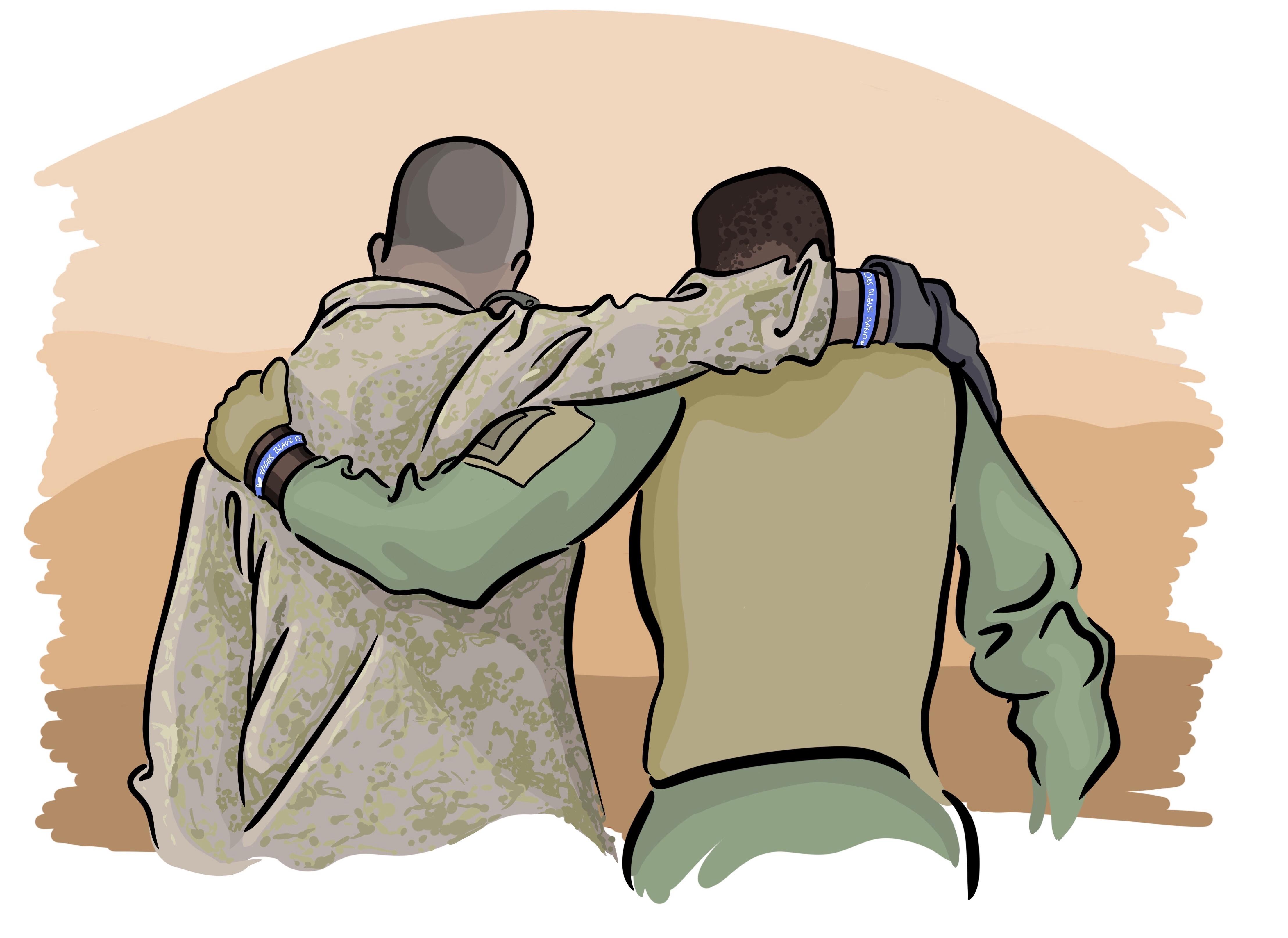 Zwei Soldaten mit dem blauen Band